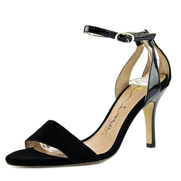 Nina Vondra Women Open-Toe Suede Black Heels