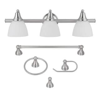 Globe Electric 50700 Estoril 3 Light Bathroom Vanity Light - Brushed Steel