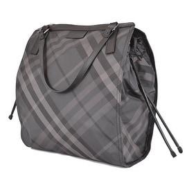 NEW BURBERRY $575 CHARCOAL NYLON NOVA CHECK PACKABLE PURSE BAG TOTE SHOPPER