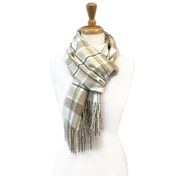 "Super Soft Luxurious Classic Cashmere Feel Winter Scarf - Beige -  72""x12"" with 11"" fringes"