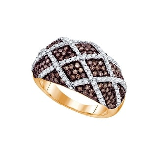 10kt Rose Gold Womens Round Cognac-brown Colored Diamond Striped Cocktail Fashion Ring 1 & 1/3 Cttw - Brown/White