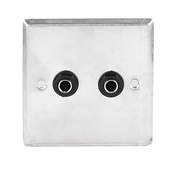 Unique Bargains Speaker Dual Black Solder 6.35mm 1/4 Socket Metal Wall Plate Panel 85x85mm