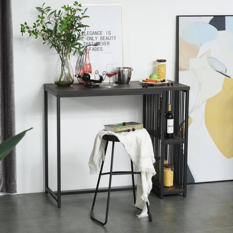 HOMCOM Industrial Steel Tube Bar Table with 2-Tier Storage Shelf, Pub Desk with Adjustable Footpad, Walnut