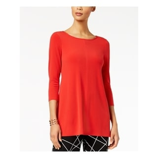 ALFANI Womens Red 3/4 Sleeve Scoop Neck Tunic Top  Size XS