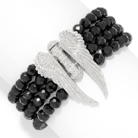 Dallas Prince Designs Sterling Silver Hematite & Black Spinel Slide Bracelet