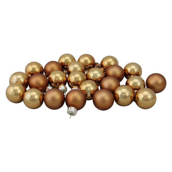 "24-Piece Shiny and Matte Copper Orange Glass Ball Christmas Ornament Set 1"" (25mm)"