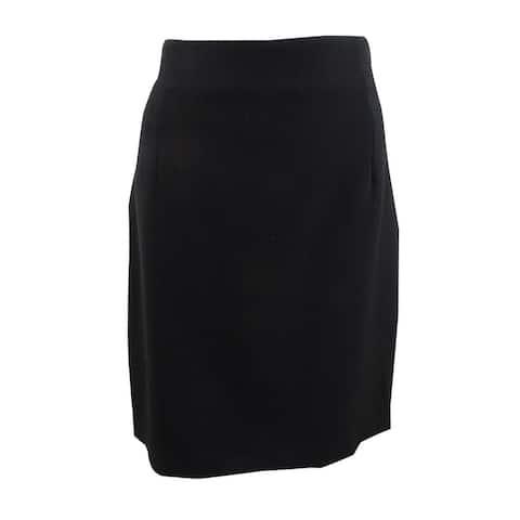 Tahari Womens Solid Zip Back Pencil Skirt, Black, 16P
