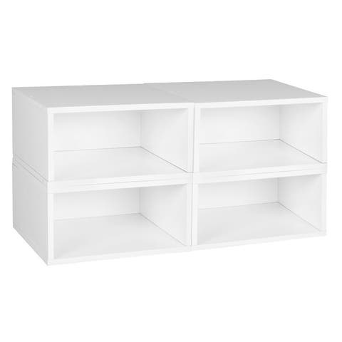 Noble Connect Storage Set- 4 Half Size Cubes- White Wood Grain