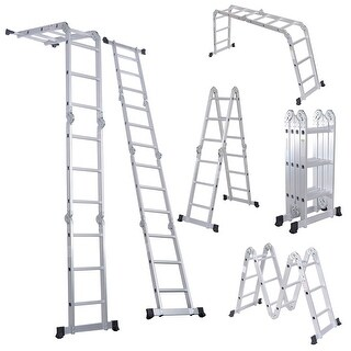 12.5FT EN131 330LB Multi Purpose Step Platform Aluminum Folding Scaffold Ladder