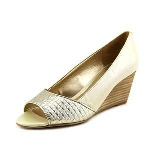 Circa Joan & David Pacquita Women Open Toe Leather Ivory Wedge Heel
