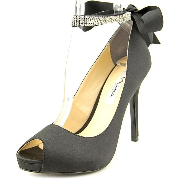 Nina Karen Women  Open-Toe Canvas Black Heels