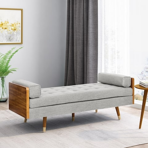 Keairns Mid-Century Modern Tufted Double End Chaise Lounge with Bolster Pillows by Christopher Knight Home