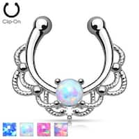 Non Piercing Lacey Single Opal Septum Hanger (Sold Ind.)