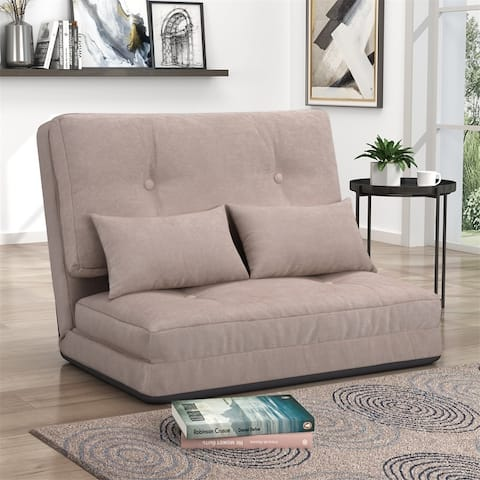 Porch & Den Othello Adjustable Folding Lounge Floor Sofa with Two Pillows