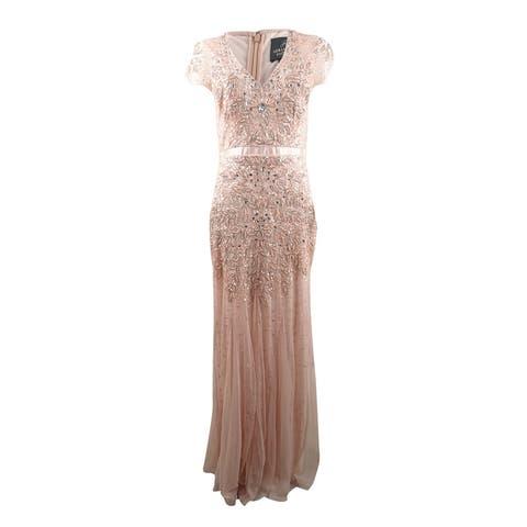 V-Neck Satin Waist Embellished Mesh Gown