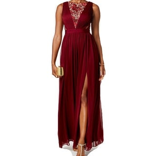 Adrianna Papell Womens Floral-Embroidered Tulle Gown