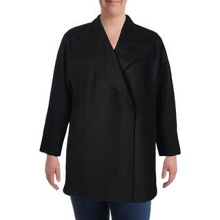 Jones New York Womens Plus Car Coat Winter Wool