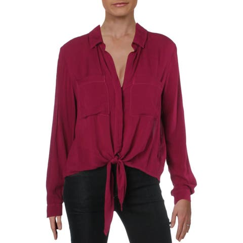 Bella Dahl Womens Tie Front Blouse Cropped Pleated