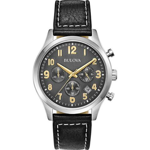 Bulova Mens 96B302 Stainless Chrono Black Leather Strap Watch - Silvertone