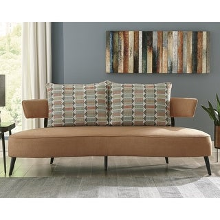 "Link to Hollyann Mid-Century Modern Rust Sofa - 77""W x 37""D x 35""H Similar Items in Sofas & Couches"