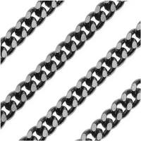 Gun Metal 3.6mm Flattened Curb Chain - Bulk By The Foot