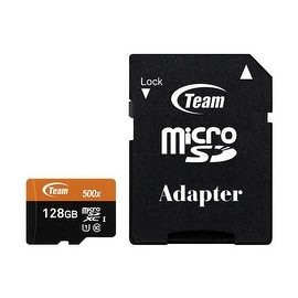 Team 128GB microSDXC UHS-I/U1 Class 10 Memory Card with Adapter, Speed Up to 80MB/s (TUSDX128GUHS03)