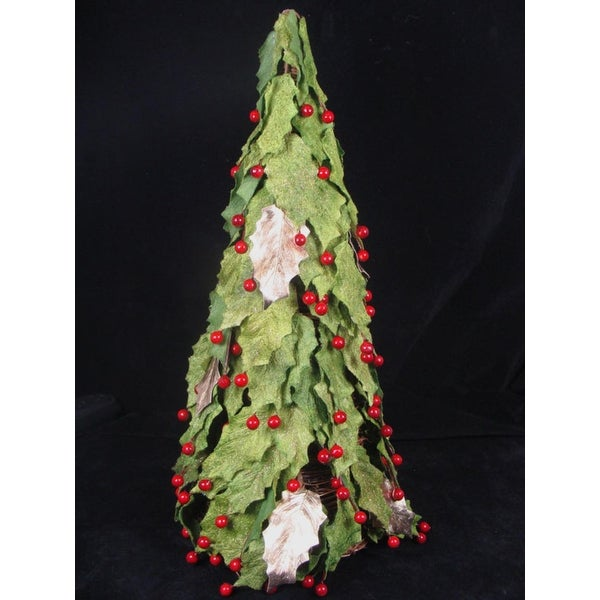 "18"" 'Twas the Night Artificial Red Holly Berry & Leaf Christmas Cone Tree -Unlit"