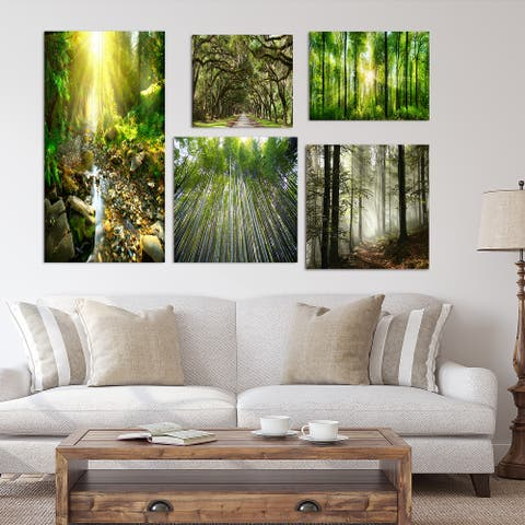 Designart - Forest Collection - Traditional Wall Art set of 5 pieces - Green