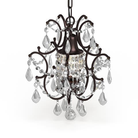 Clear Crystal Brown Base Mini Chandelier