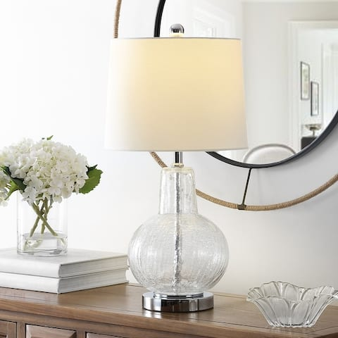 "SAFAVIEH Lighting Atlas 24-inch Glass LED Table Lamp - 12"" W x 12"" L x 24"" H"