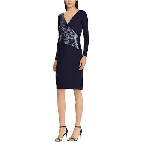 Lauren Ralph Lauren Sequin Panel Jersey Dress Navy Multi