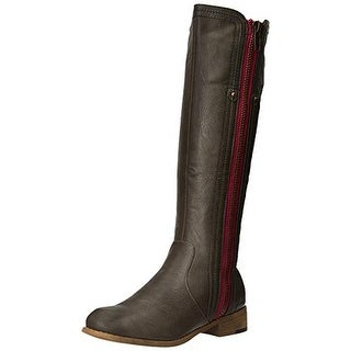 Luichiny Womens Express Lane Riding Boots Faux Leather Side Zip