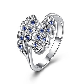 Mock Sapphire Duo Leaf Branch Petite Ring