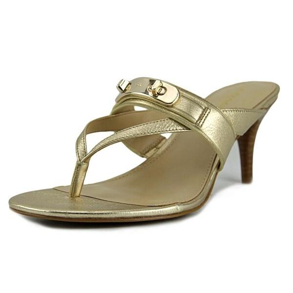 Coach Olina Women Open Toe Leather Gold Sandals