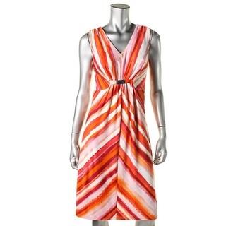 NY Collection Womens Petites Matte Jeresy V-Neck Wear to Work Dress - pm
