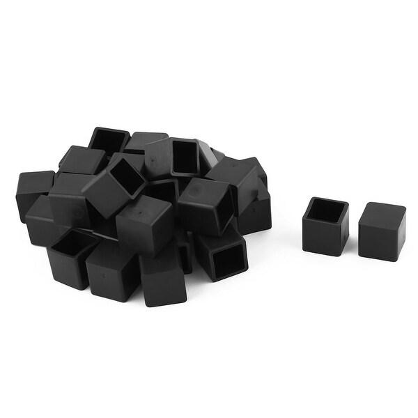 Unique Bargains 33 Pcs Antislip Rubber Square 20mm x 20mm Chair Foot Cover Table Furniture Leg Protector Black