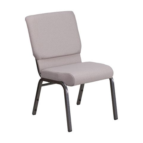 Offex 18.5''W Stacking ChurchChair in Gray Dot Fabric-SilverVein Frame