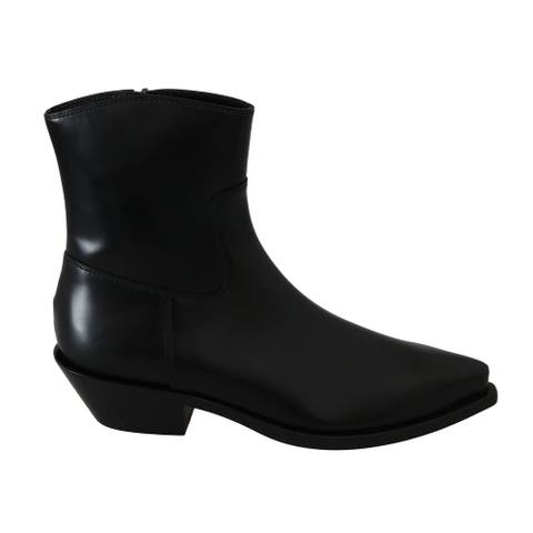 Dolce & Gabbana Black Leather Ankle High Boots Women's Shoes - eu39-us8-5