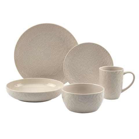 Tabletops Gallery 20PC Boxwood White Round Dinnerware Set - Service for 4
