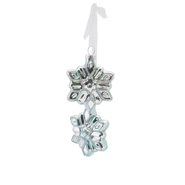 "16"" Silent Luxury Soft Green Glittered Glass Snowflake Bundle Drop Christmas Ornament"