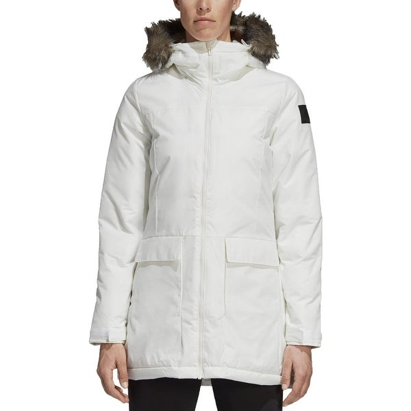 Adidas Womens Parka Coat Winter Quilted - White - M. Opens flyout.