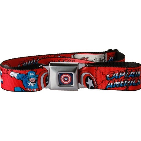 Captain America Seatbelt Belt Red-Holds Pants Up