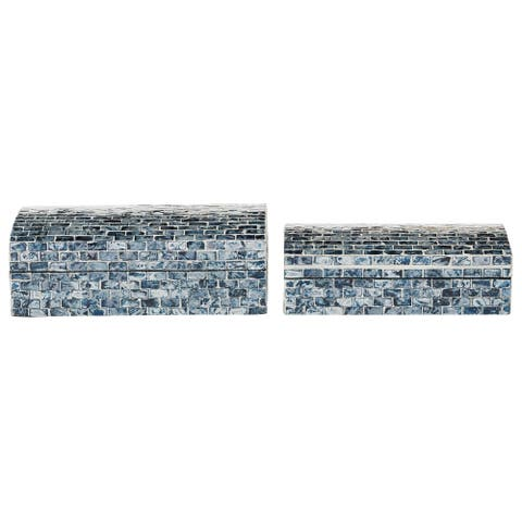 """Blue Shell Mosaic Patterned Wood Box With Arched Top Set Of 2 10"""" 11"""" - 11 x 6 x 4"""
