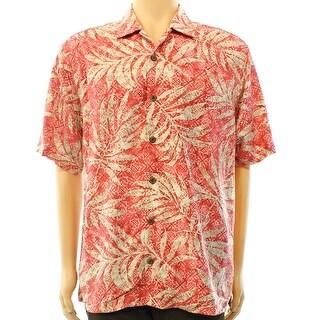 Tommy Bahama NEW Red Mens Size Medium M Button Down Silk Leaf Shirt