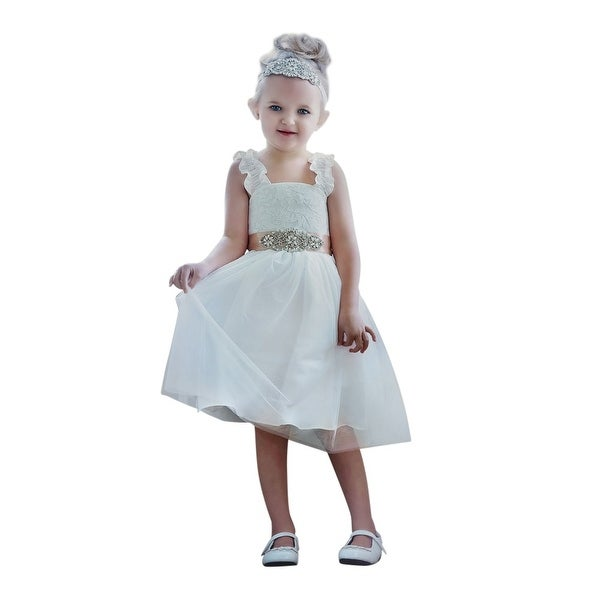 Think Pink Bows Baby Girls White Ruffle Strap Valentina Flower Girl Dress 1Y
