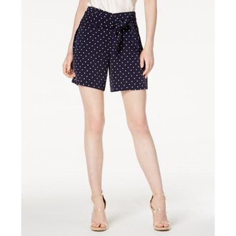 Bar III Womens Navy Blue White Size Small S Polka Dot Belted Shorts