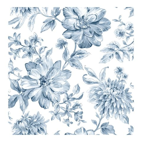 Gabriela Blue Floral Wallpaper - 20.5 x 396 x 0.025