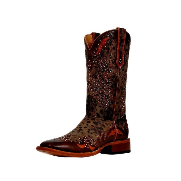 Cinch Western Boots Womens Studded Cheetah Print Brown Grey