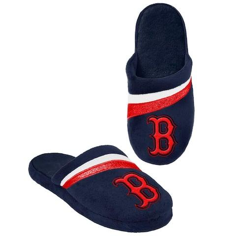 Boston Red Sox MLB Adult Glitter Stripe Slide Slipper - Blue