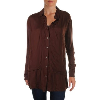 Free People Womens Long Sleeves Jersey Back Button-Down Top